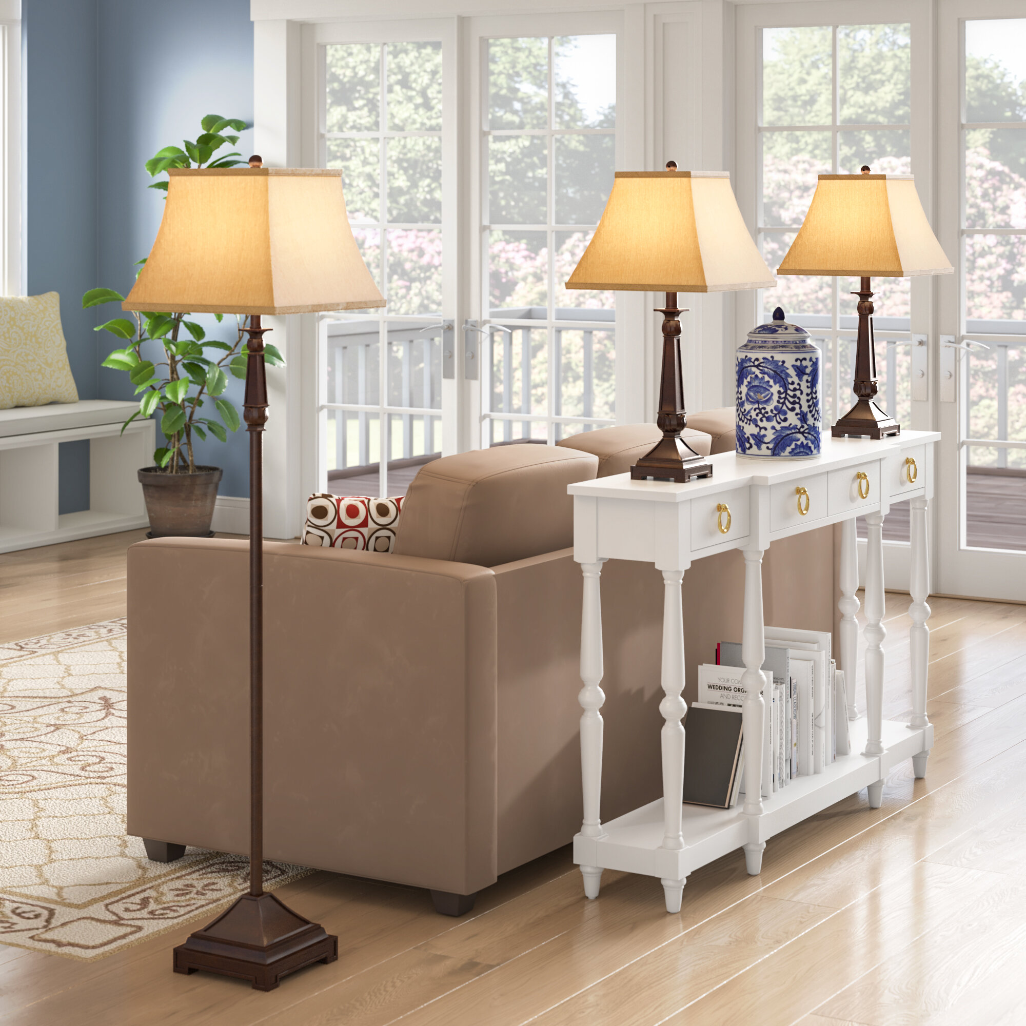 Soliz 3 Piece Floor And Table Lamp Set