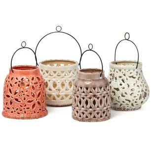 Compare Galasso Cutwork 4 Piece Ceramic Lantern Set By Bungalow Rose