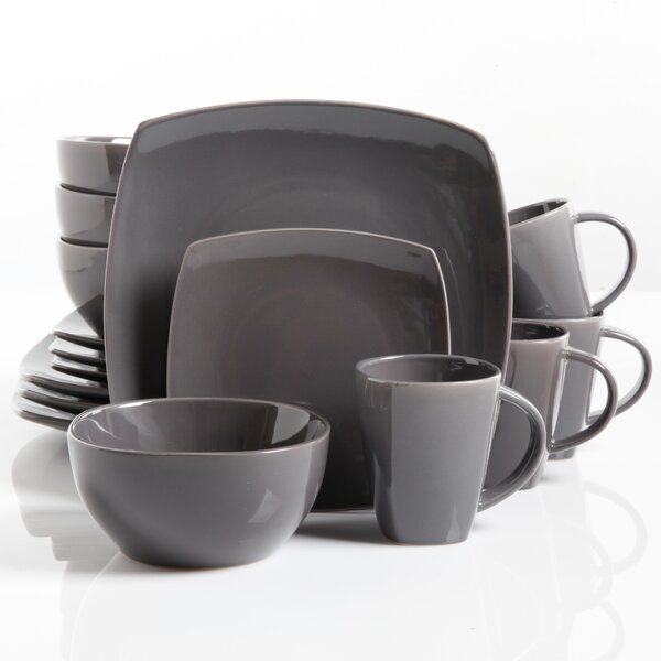 Onique Glossy 16 Piece Dinnerware Set, Service for 4 by Mint Pantry