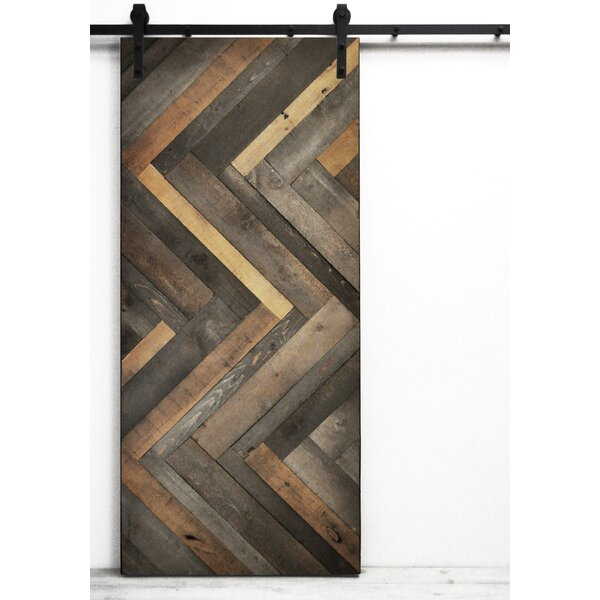 Herringbone Solid Wood Room Dividers Slab Interior Barn Door by Dogberry Collections