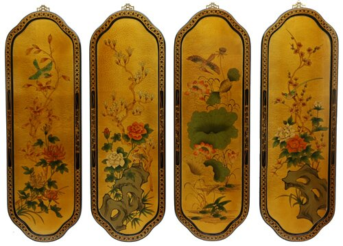 Birds and Flowers Curved 4 Piece Painting Plaque by Oriental Furniture