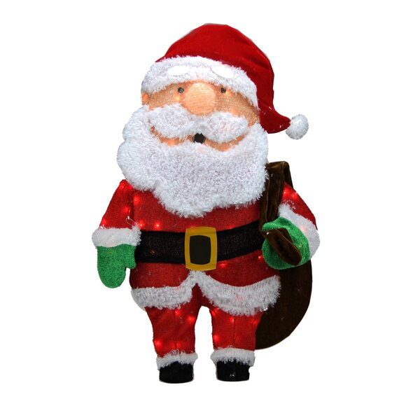 Candy Lane Pre-Lit  Cane 2D Santa Claus with Bag Christmas Yard Art Decoration by Northlight Seasonal