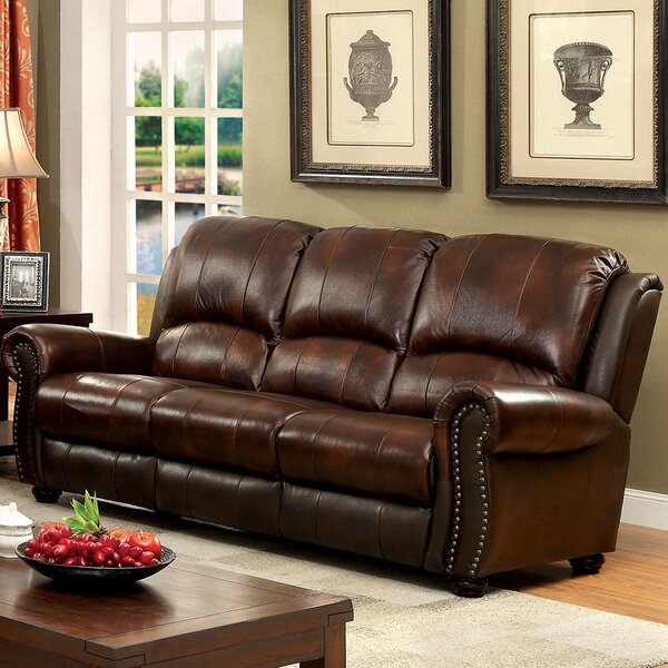 Fitzgibbons Leather Sofa By Darby Home Co Discount