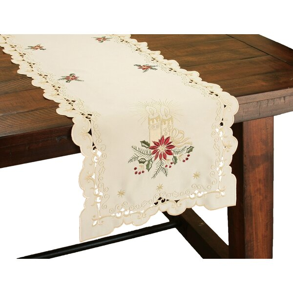Golden Glow Embroidered Cutwork Christmas Table Runner by The Holiday Aisle