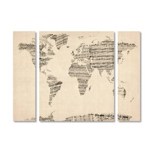 'Old Sheet Music World Map' by Michael Tompsett 3 Piece Graphic Art on Wrapped Canvas Set by Trademark Fine Art