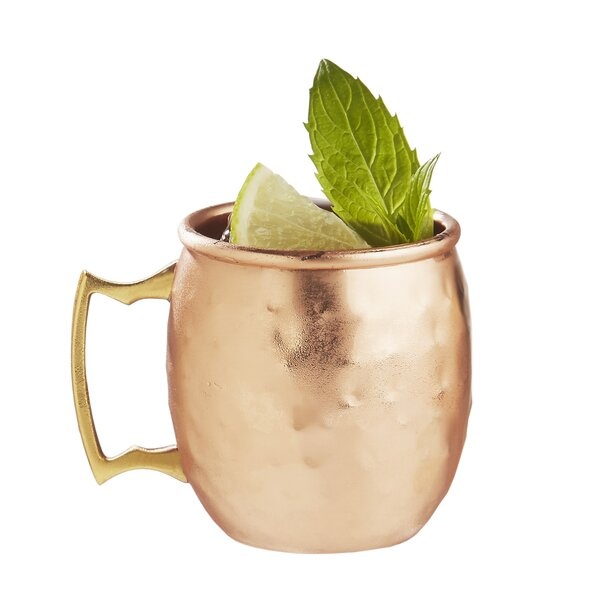 Ptolemy Moscow Mule Hammered 2.5 Oz. Stainless Steel Mug (Set of 4) by Latitude Run