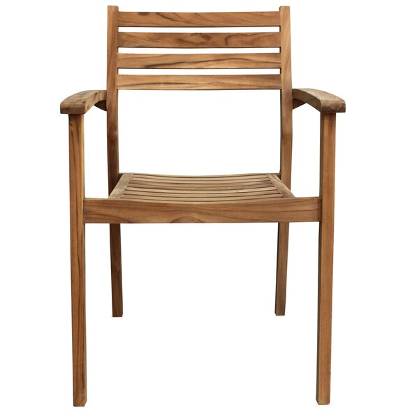 Culbertson Stacking Teak Patio Dining Chair by Highland Dunes