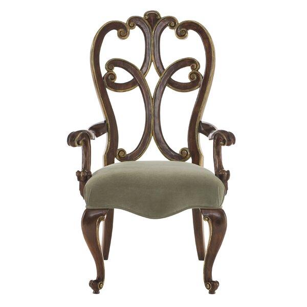 Villa Medici Upholstered Queen Anne Back Arm Chair in Brown by Bernhardt Bernhardt