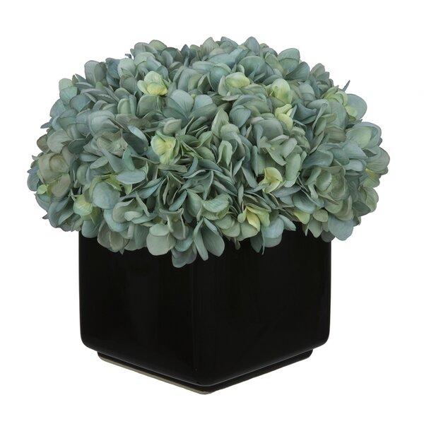 Hydrangea Arrangement in Large Black Cube Ceramic by House of Silk Flowers Inc.