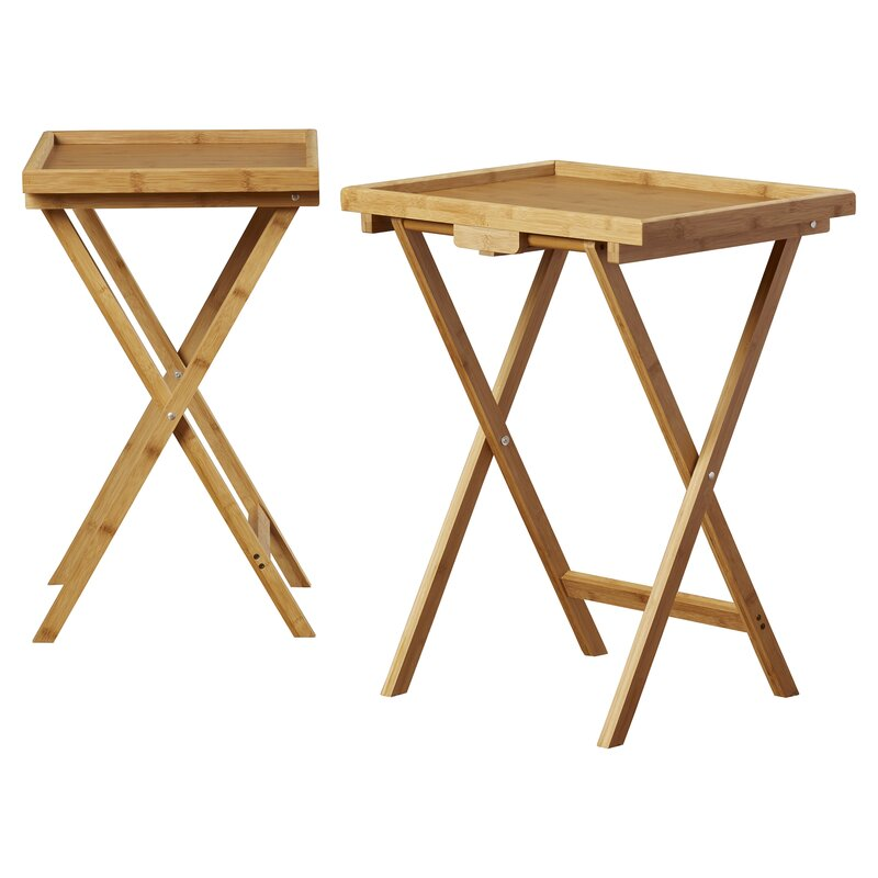 Elegant Solomon Bamboo Snack TV Tray Table