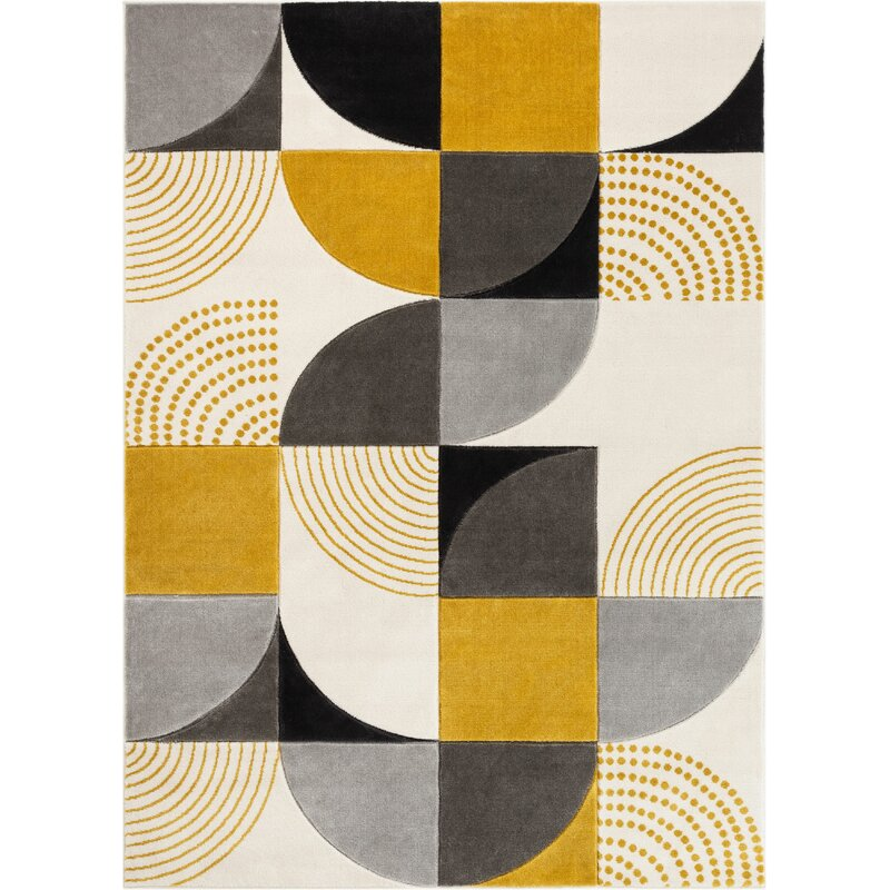 Well Woven Good Vibes Margot Modern Geometric Chevron Gold Gray