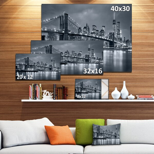 Panorama New York City At Night Cityscape Photographic Print On Wrapped Canvas By Design Art.
