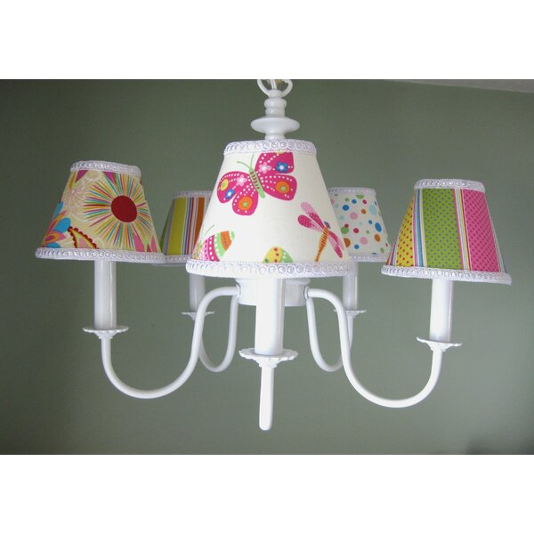 Summertime Mix And Match 5-Light Shaded Classic / Traditional Chandelier By Silly Bear Lighting