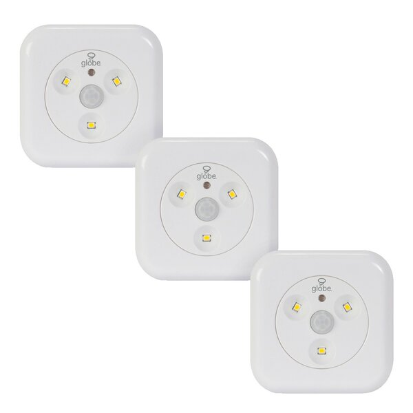 Motion Activated Slim Under Cabinet Puck Light (Set of 3) by Globe Electric Company