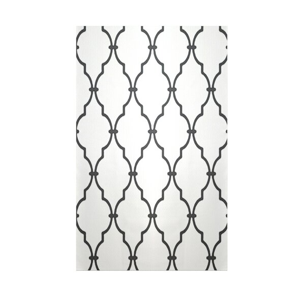 Geometric White Indoor/Outdoor Area Rug by e by design