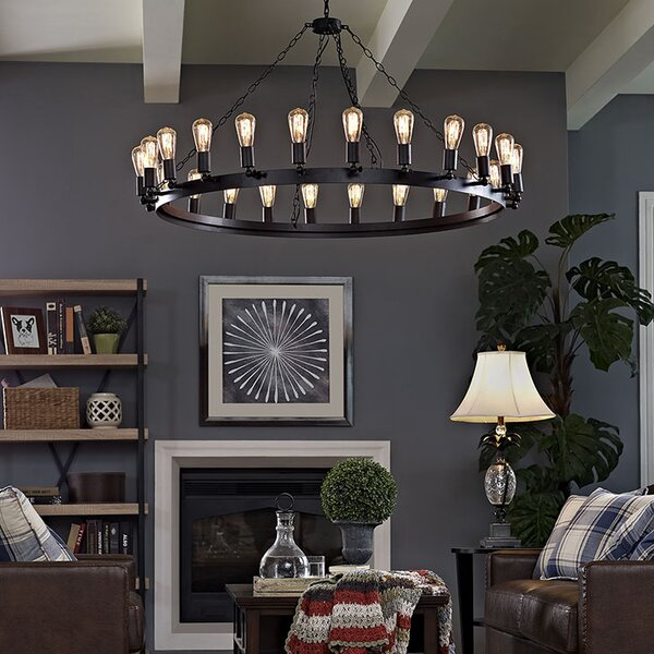 Layla 24-Light Candle Style Wagon Wheel Chandelier By Williston Forge