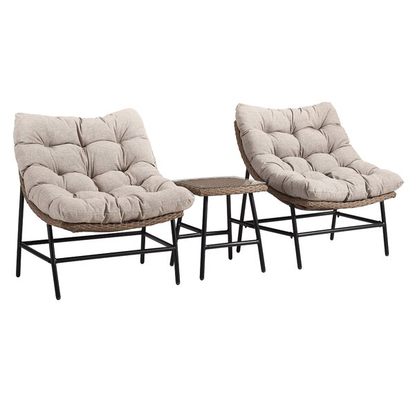 Lauri Transitional Patio Chair with Cushions (Set of 2) by Ivy Bronx