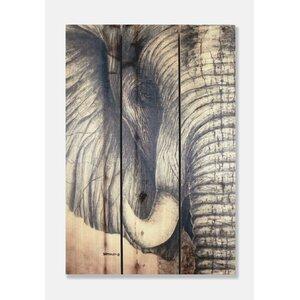 Signature 1 African Elephant Cedar Painting Print on Cedar by Gizaun Art