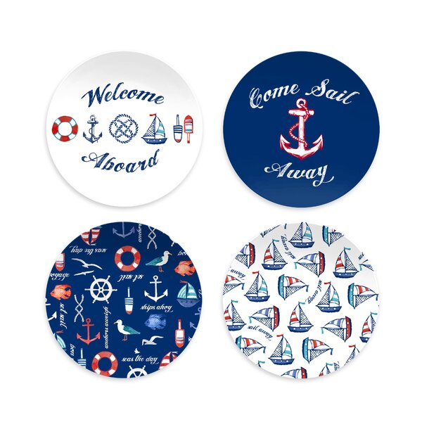 Emilio Nautical Assorted 4 Piece Melamine Salad Plate Set by Breakwater Bay
