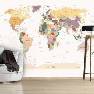 World map wallpaper kids wayfair world map 245m x 350cm wallpaper gumiabroncs Gallery