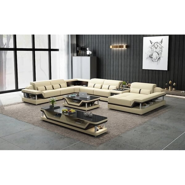 Nurgul Functional Leather 161.5'' Symmetrical Sectional By Orren Ellis