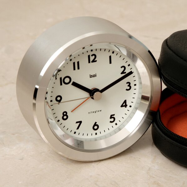 Landmark Astor Aluminium Travel Alarm Clock by Bai Design