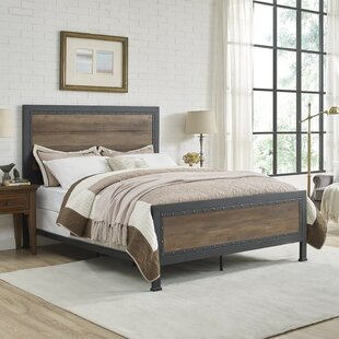 berta industrial queen panel bed - Queen Bedroom Frames