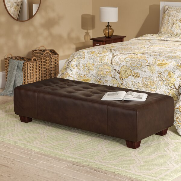 Gendron Leather Tufted Cocktail Ottoman By Three Posts