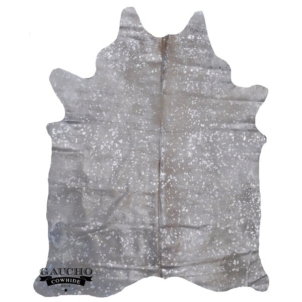 One-of-a-Kind Pinheiro Metallic Cowhide Exotic Silver/Off-White Area Rug by Loon Peak