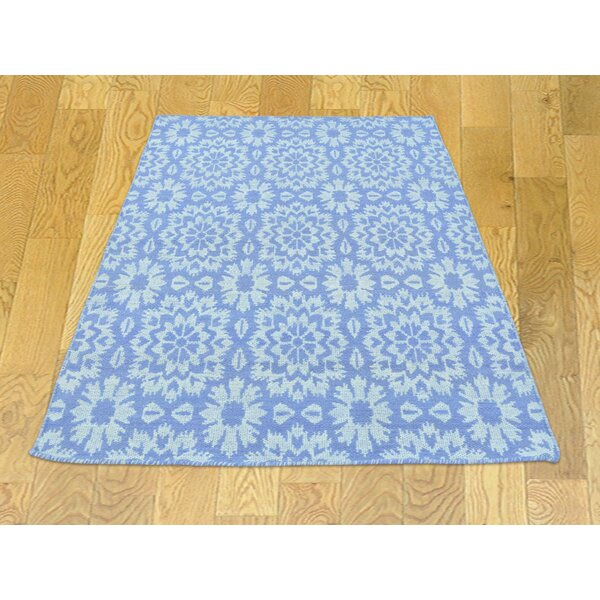 One-of-a-Kind Borica Reversible Handmade Kilim Blue Wool Area Rug by Isabelline