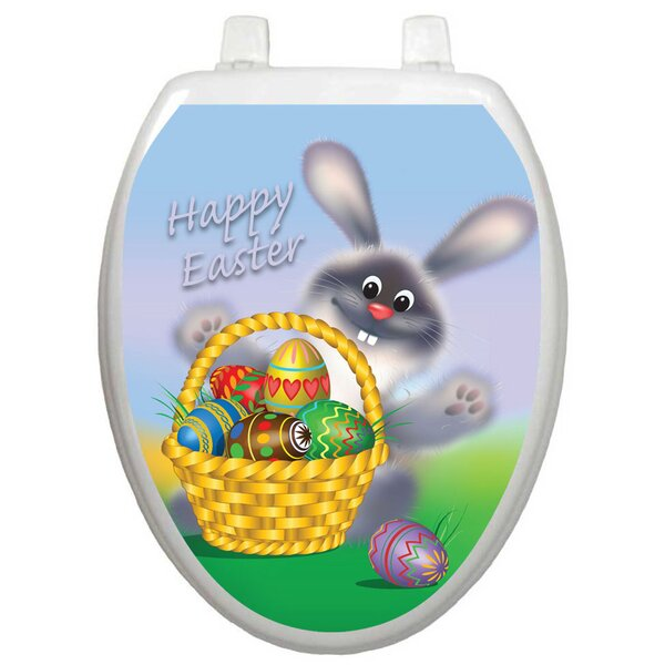 Holiday Easter Bunny Toilet Seat Decal by Toilet Tattoos