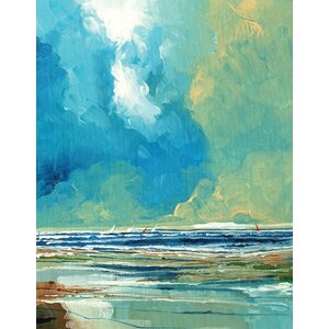 Sea View On Boards Painting Print on Wrapped Canvas by Breakwater Bay