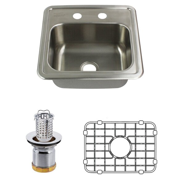 Select 15 L x 15 W Drop-In Kitchen Sink with Sink Grid and Drain Assembly by Transolid