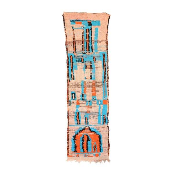 Moroccan Vintage Boujad Hand Knotted Wool Blue/Orange Area Rug by Indigo&Lavender