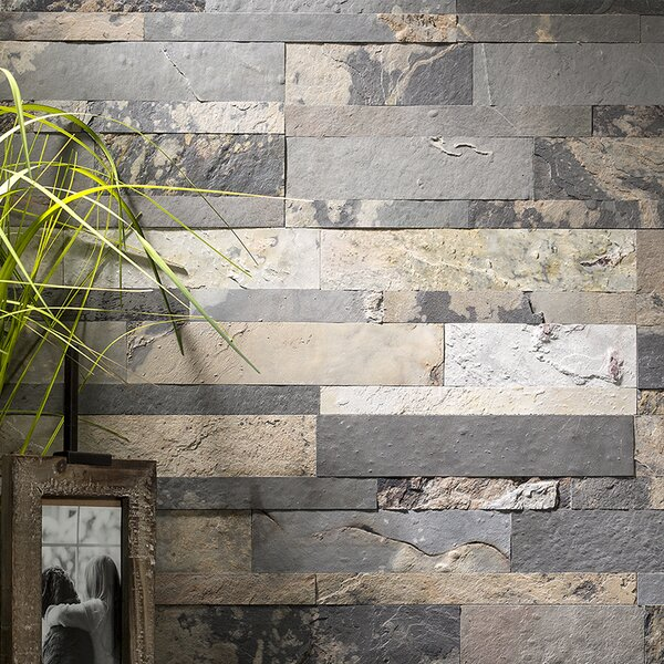 5.9 x 23.6 Slate Peel & Stick Mosaic Tile in Medley by Aspect