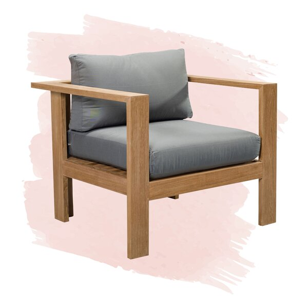 Gillian Teak Patio Chair with Cushion by Foundstone