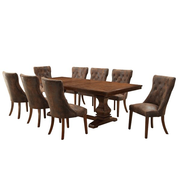 Lisa 9 Piece Extendable Dining Set by Alcott Hill