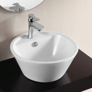 Reviews Ceramica II Ceramic Circular Vessel Bathroom Sink with Overflow By Caracalla