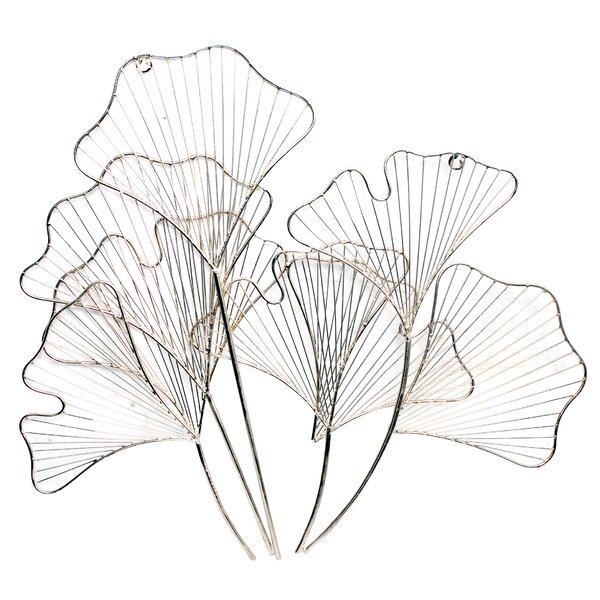 Lily Flowers Silver Nickel Wall Décor by Bay Isle Home
