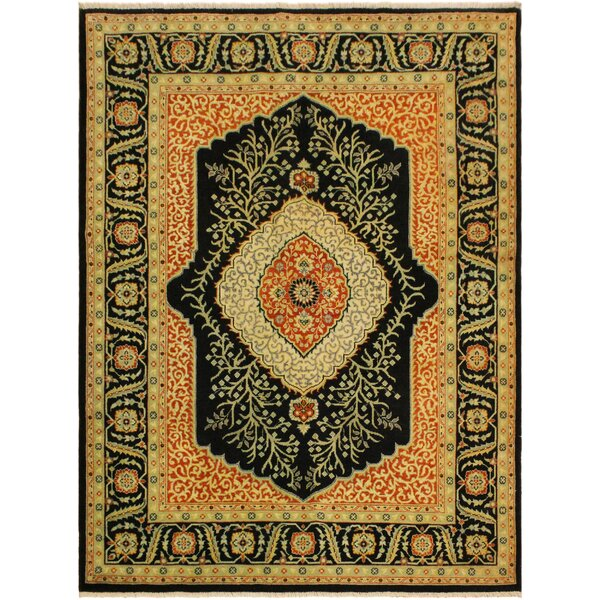 One-of-a-Kind Ernesto Turkish Hand-Knotted Wool Black/Green Area Rug by Bloomsbury Market