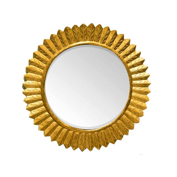Critchfield Round Wooden Carving Frame Accent Mirror by World Menagerie