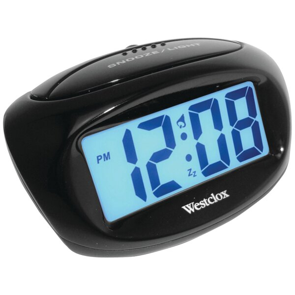 Large Easy To Read LCD Battery Alarm Tabletop Clock by Ebern Designs
