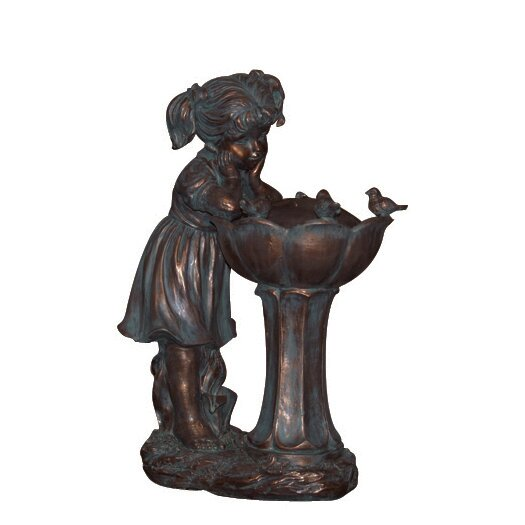Resin Bird Gazing Girl Fountain by Northlight Seasonal