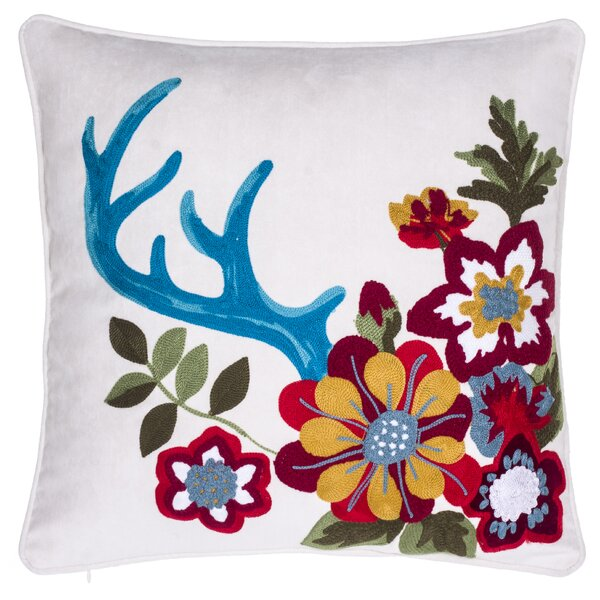 Embroidered Floral Throw Pillow by 14 Karat Home Inc.