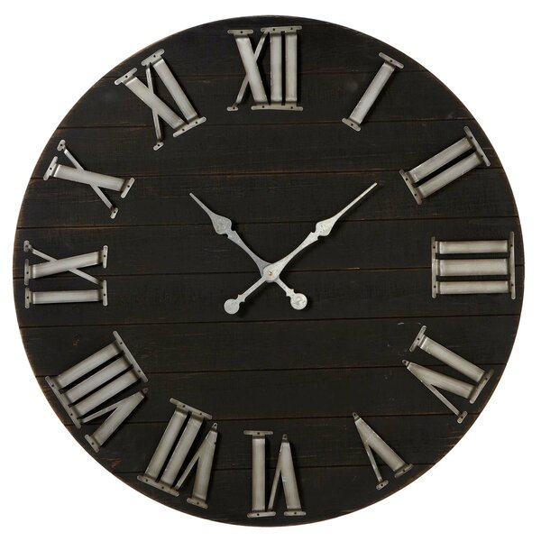 """Large Wall Clock Distressed Big Numbers Farmhouse Chic Round Wood Oversize 36/"""""""