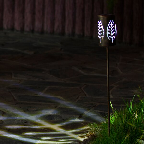Metal Leaves Solar 1-Light Pathway Light by Winsome House