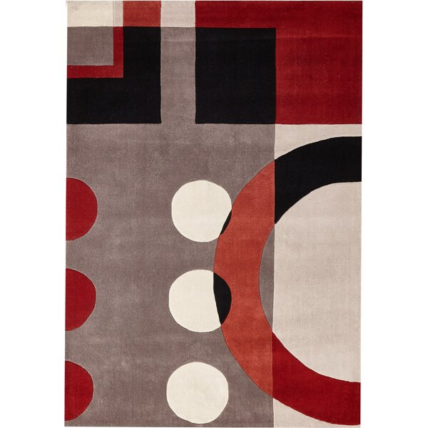 Ezekiel Hand-Tufted Black/Red/Beige Indoor Area Rug by Red Barrel Studio