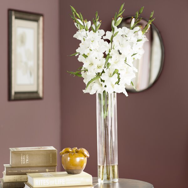Large Gladiola in Cylinder Vase Silk Arrangement by Willa Arlo Interiors