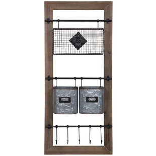 Asuka Metal And Wood Wall Organizer With Baskets And Hooks