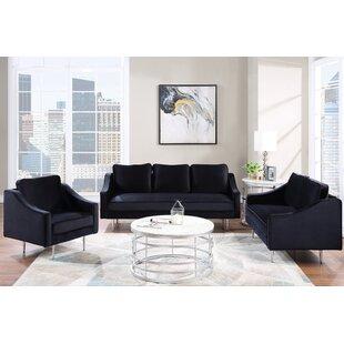 Delanson 3 Piece Velvet Living Room Set by Everly Quinn